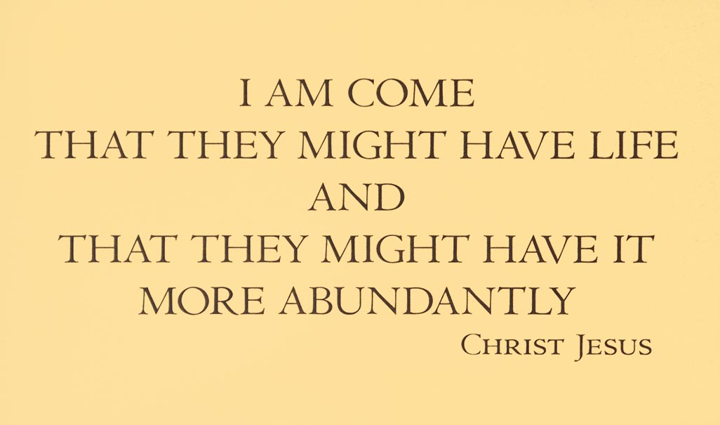 I Am Come That They Might Have Life And That They Might Have It More Abundantly - Christ Jesus